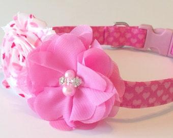 Heart Dog Collar - Valentine Dog Collar - Pink Dog Collar