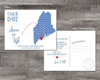Maine Save the Date – Map save the Date – Wedding Save the Dates