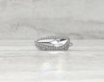 Small Rhinestone Barrette-Modern Hair Clip in Silver For Weddings/Communion/Sweet sixteen/Flower Girl gift/Bridal Party/Bat Mitzva/Gift bags