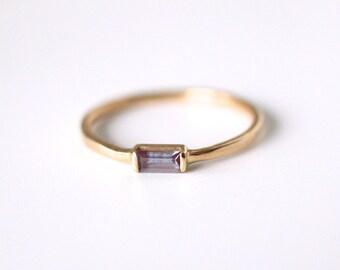 alexandrite ring, 14k rose gold baguette, dainty art deco ring, june birthstone, rectangle ring, minimalist engagement, color change stone