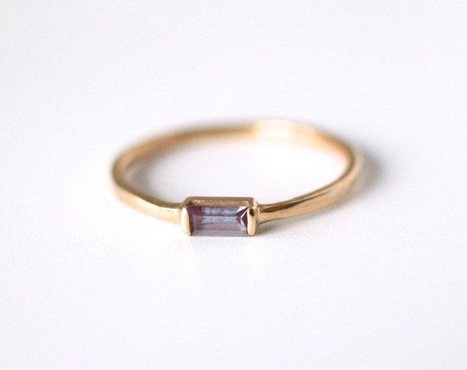 gold alexandrite baguette ring