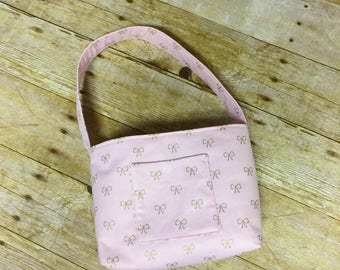 Little Girls Purse Pink Purse Gold Bows Purse Little Lady Purse Toddler Purse Birthday Girl Gift Gift for Girl Cloth Purse Flower Girl Gift