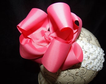 Hairbow Coral Pink Double Layered Boutique Bow and Interchangeable Headband Newborn Toddler Older Girl