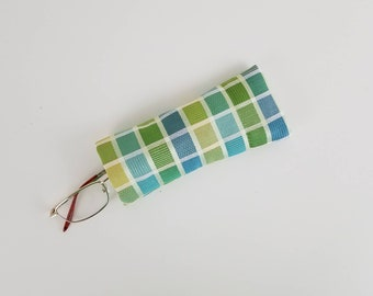 Green Blue White Plaid  Upcycled Soft Eyeglass Case Sunglasses Holder