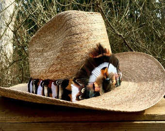 Urban Cowboy hat band with Wild Turkey feathers, Pheasant feathers & Chukar Partridge feathers, on leather