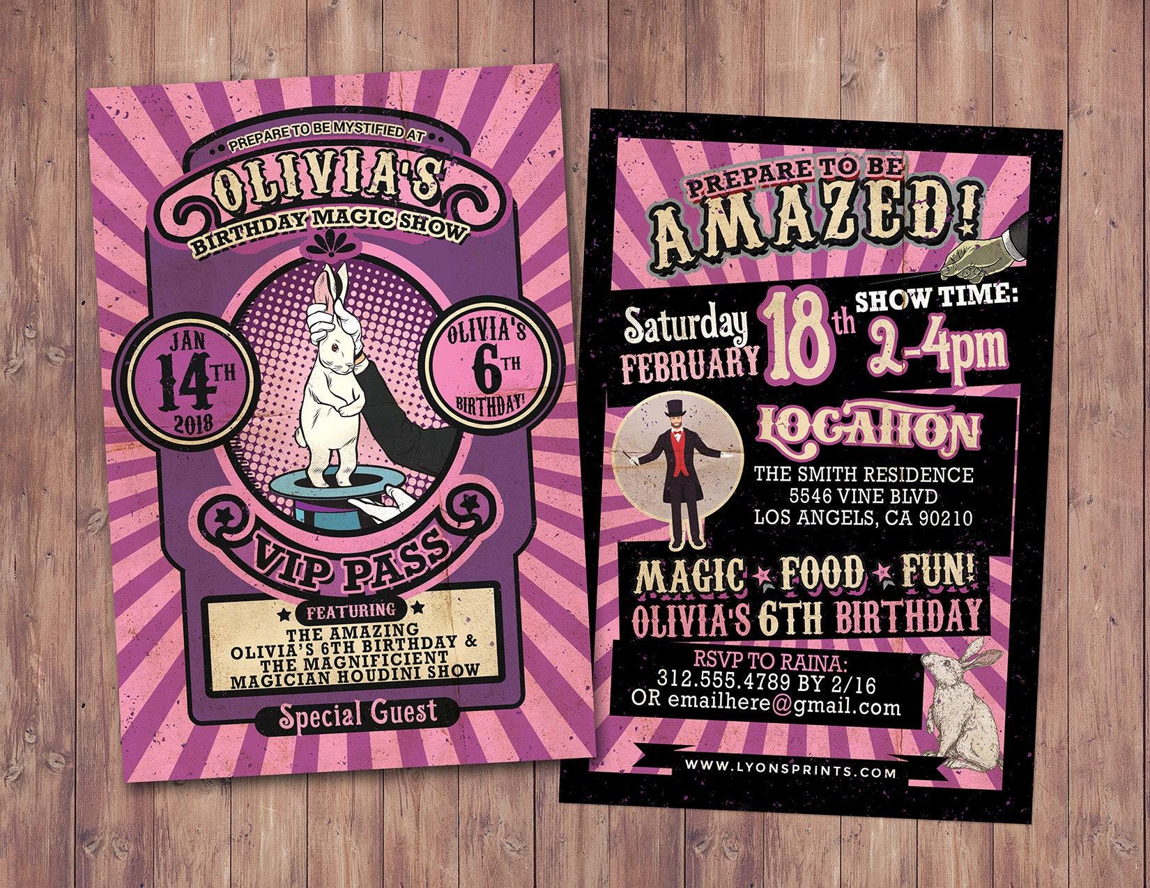 Magic Party Invitation Magic Birthday Invitation Magician Invitation