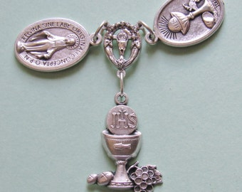 First Communion Talisman *medal,JHS,Sacred Heart,Jesus,Miraculous Medal,chalice,Blessed Virgin,prayer,good luck,unique gift idea