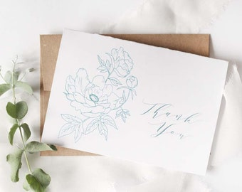 Set of 6 Thank you blue peony outline hand drawn cards with kraft paper envelopes