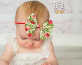 Fabric Bow Skinny Headband - Vintage Floral Green Red Mint - Baby Headband - Headband - Newborn Infant Baby Toddler Girls Adult Wedding