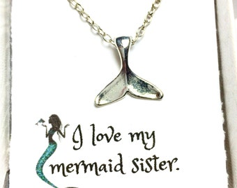 Mermaid Tail Gift Card Necklace, Friendship gift, Mermaid Necklace, Mermaid Jewelry, Ocean, Beach jewelry,Mermaid, Gift Necklace, Gift card