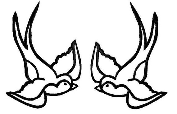 Pair of Swallow iron on patches tattoo inspired  large size