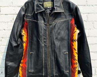 1980'S Mexican made leather coat with blanket accents on sides/80's/Very Cool