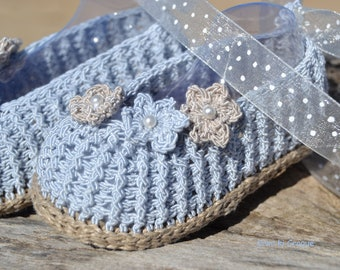 Rope-soled sandals baby in the hook linen and cotton