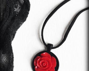 Red Rose Necklace, Gothic Victorian, Elegant Pendant, Romantic Jewelry, Valentines Gift Idea, Victorian Jewellery, Handmade Jewelry