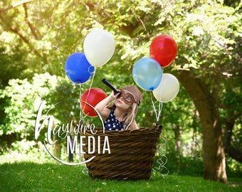 Baby, Toddler, Child, Nature Hot Air Balloon Basket Photography Digital Backdrop Background Prop for Photographers - PNG Coverup Layer
