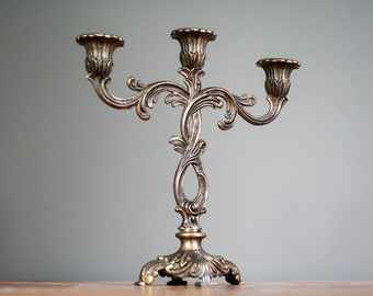 french antique decorative brass candle holder - home decor - vintage metal candle holder