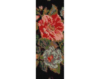 Flowers 4 Peyote Bead Pattern, Bracelet Pattern, Bookmark Pattern, Seed Beading Pattern Miyuki Delica Size 11 Beads - PDF Instant Download