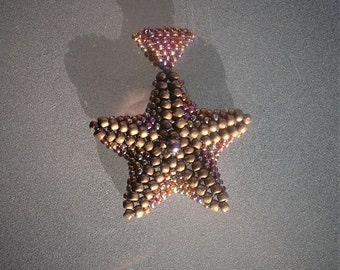 Handmade glass seed bead starfish pendant - bronze and metallic transparent rainbow