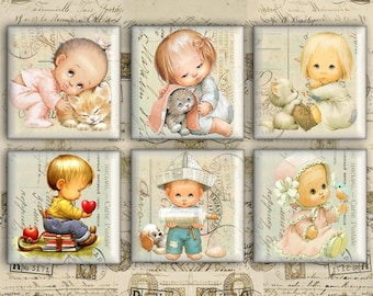 Digital Collage Sheet 1x1 inch & 2x2 inch - Square Images - Instant Download for jewelry pendants, scrapbook- CUTE LITTLE CHILDREN