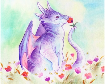 cute 'Flower Dragon'  fantasy art print