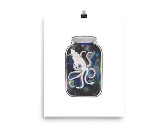 Contessa With Squid Print Fantasy Art Octopus Woman Squid