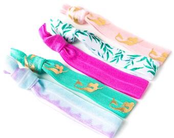 Mermaid Hair Tie Set | Purple + Pink Creaseless Elastic Hair Ties, Teen Girl Mermaid Hair Tie Set, Gold Lavender Ombre Summer Hair Ties