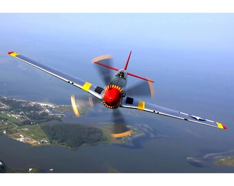 P-51 Mustang Head On - Plane Poster Print - Military Warbird Photo - Aircraft