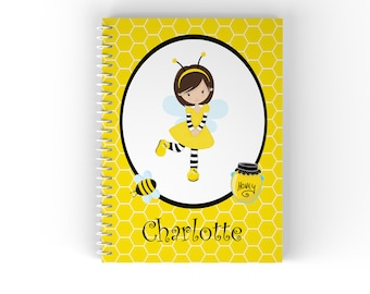 Honey Personalized Notebook - Honey Bee Girl Yellow Honey Comb with Name, Customized Spiral Notebook Back to School
