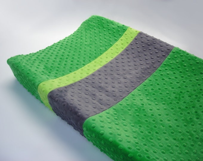 Kelly Green Changing Pad Cover with Stripes