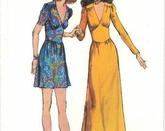 Simplicity 9812 Retro Boho Woman Midriff Yoked Mini Dress and Maxi Dress Skirt Ruffle Sewing Pattern Size 10 Vintage 1970s UNCUT