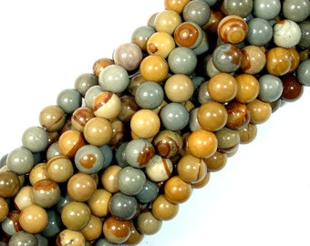 Wild Horse Picture Jasper, Owyhee Picture Jasper, 6mm Round Beads, 16 Inch, Full strand, Approx 65 beads, Hole 0.8 mm,AA quality(337054001)