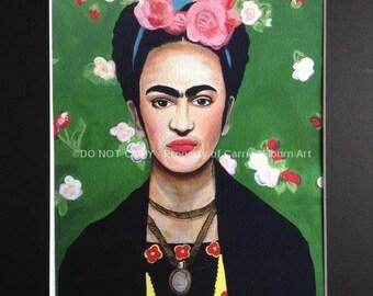 Frida Kahlo Print, Frida Painting Giclee, Includes Matte, Colorful Artwork!