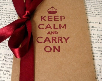 Keep Calm and Carry On in Red-Handmade Vintage Style Altered Moleskine Kraft Cahier-Notebook/Journal/Pocketbook Perfect for Gifts