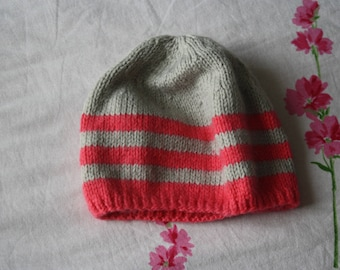 hand knitted striped girl Hat