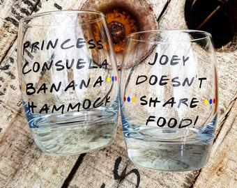 Friends TV Show, Friends Glass, Gift, x1 glass, Handmade, princess, Joey.