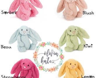New colors!!! Personalized Jellycat Bunny Rabbit Stuffed Animal, both ears
