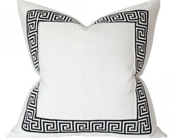 Luxury decorative pillow cover with Greek key trim ,linen decorative cushion cover,all size
