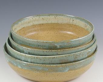 Pottery Wedding Gift, Handmade Pottery Bowls, 6 inch, Set of Four Bowls, Salad Dessert Bowls, Prep Bowl Set, Gourmet Gift