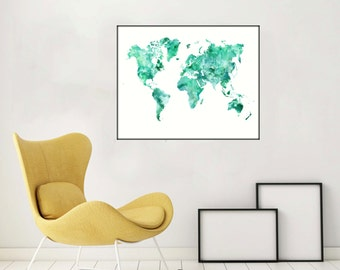 Rose gold world map poster large world map print faux foil aquamarine world map poster world map decor watercolor map printable large world map printable world map gumiabroncs Gallery