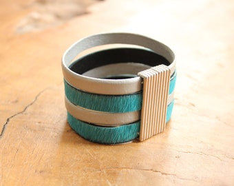 Leather hair on bracelet, calfskin, pony skin, cow hide bracelet, minimilist, silver and grey cuff, gray leather cuff