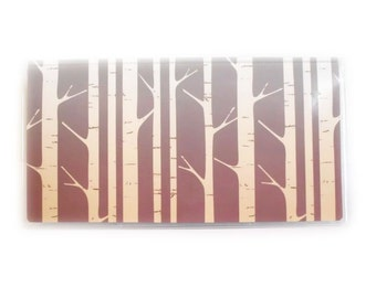 Checkbook Cover - Dusk - aspen forest themed holder for your checkbook - grey, wine, and cream - woodland birch trees