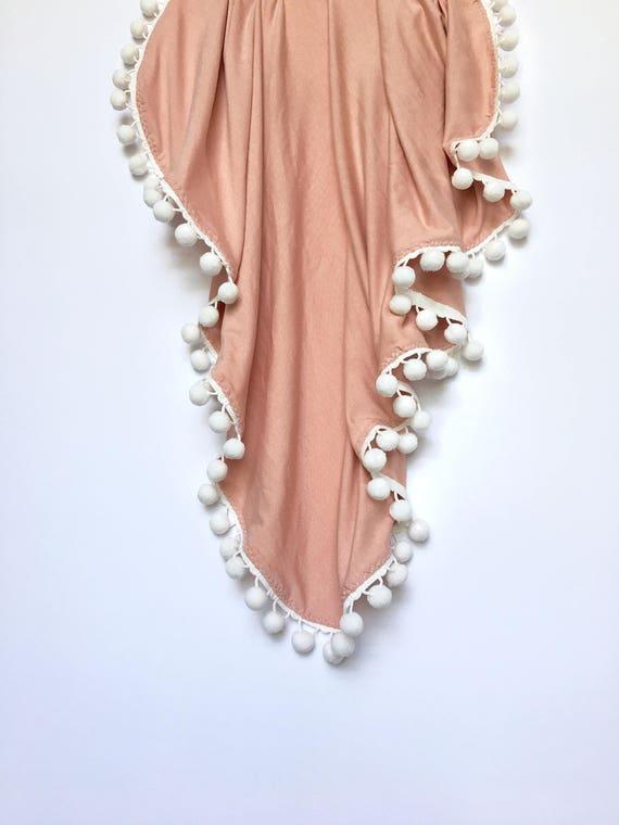 Dusty Rose Pom Swaddle Blanket