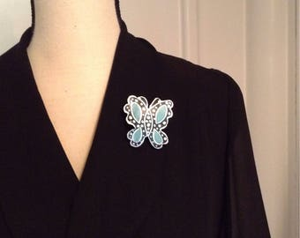Gourd turquoise black and silver butterfly brooch pin