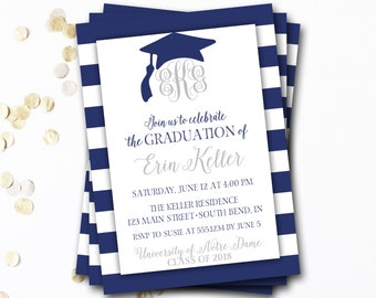 Monogram Graduation Invitation, Navy Graduation Invitation, Navy and Silver Graduation, Class of 2018, Monogram Invitation, DIY Printable