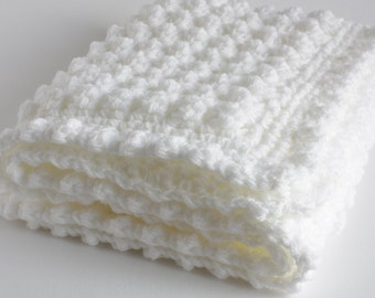 """White Baby blanket, a handmade extra thickness crochet baby blanket, shawl, 32"""" x 24"""" approx, ideal christening, shower, new baby, Baby gift"""