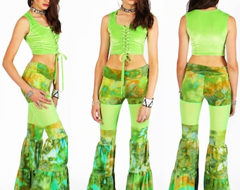 Hand Dyed Peekaboo Flow Pants in Jungle Ice with Lime Green Mesh