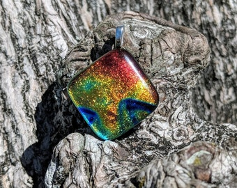Blue flame multi colored fused glass dichroic pendant