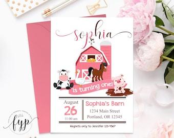 Girls Farm Party Invitation - Girls Birthday Invite - Barnyard Birthday Invitation - Farm Birthday Invite - Barnyard Party - Farm Animals