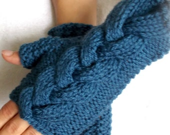 Cabled  Fingerless Gloves Wrist Warmers Denim Blue Women Acrylic Gloves