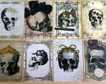 Set of 8 'Adorable Skeleton' Tags With Gold Organza Ribbon